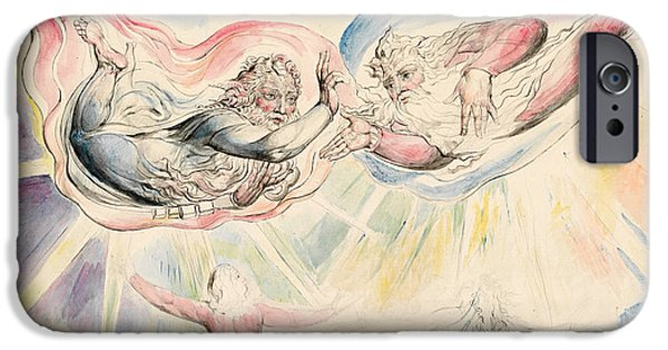 William Blake iPhone Cases - St Peter and St James with Dante and Beatrice iPhone Case by William Blake