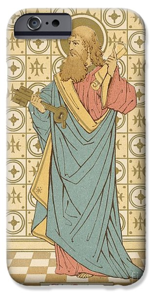 Robe Drawings iPhone Cases - St Peter iPhone Case by English School