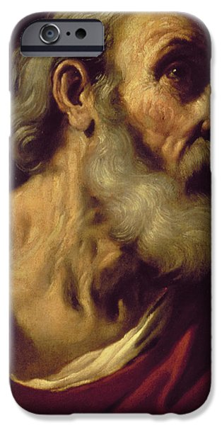 Disciples Paintings iPhone Cases - St. Peter iPhone Case by Guercino