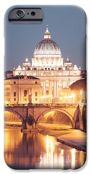 Vatican iPhone Cases - St. Peters basilica at night iPhone Case by Matteo Colombo