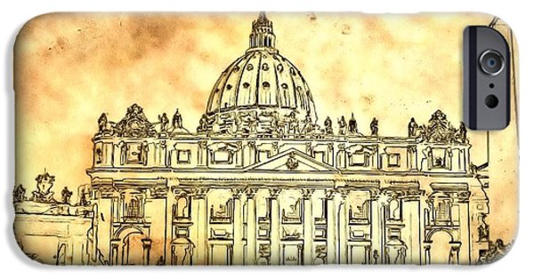 Pope Mixed Media iPhone Cases - St. Peters Basilica iPhone Case by Dan Sproul