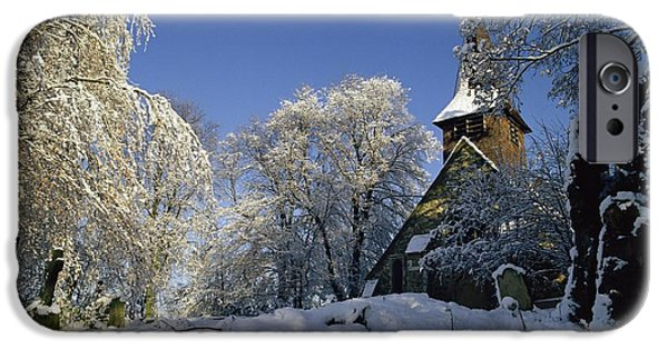 Trees In Snow iPhone Cases - St Peters Church in the Snow iPhone Case by Robert Hallmann