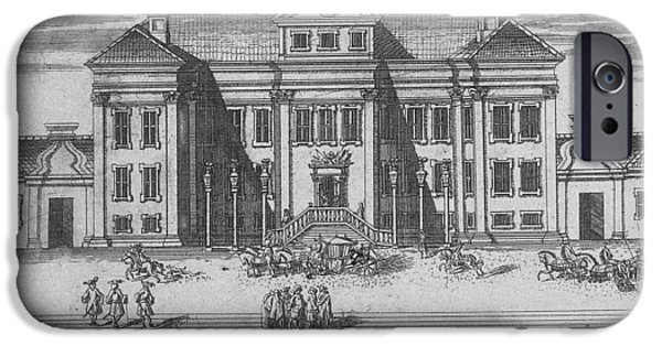 St. Petersburg iPhone Cases - St. Petersburg. View Of The Winter Palace Of Peter I, 1716 Etching iPhone Case by Alexei Fyodorovich Zubov