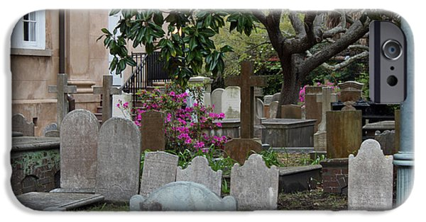 Headstones iPhone Cases - St. Philips Cemetery - French Quarter Charleston iPhone Case by Suzanne Gaff