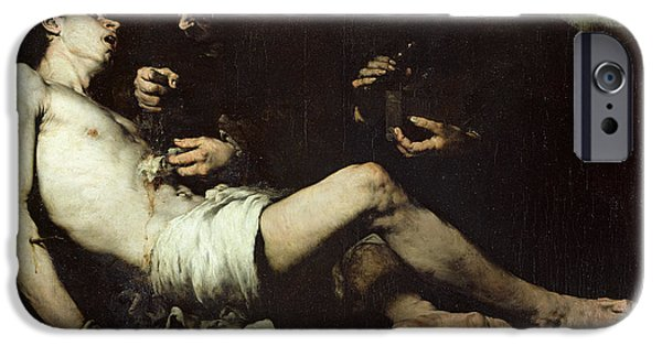Sacrificial iPhone Cases - St Sebastian, Martyred Oil On Canvas iPhone Case by Auguste Theodule Ribot