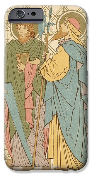 Robe Drawings iPhone Cases - St Simon and St Jude iPhone Case by English School