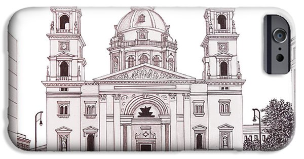 Buildings Mixed Media iPhone Cases - St Stephens Basilica iPhone Case by Frederic Kohli