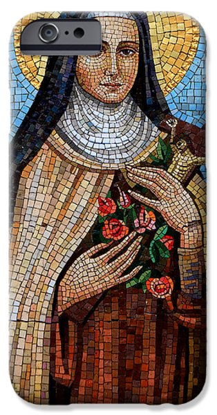 Mosaic iPhone Cases - St. Theresa Mosaic iPhone Case by Andrew Fare