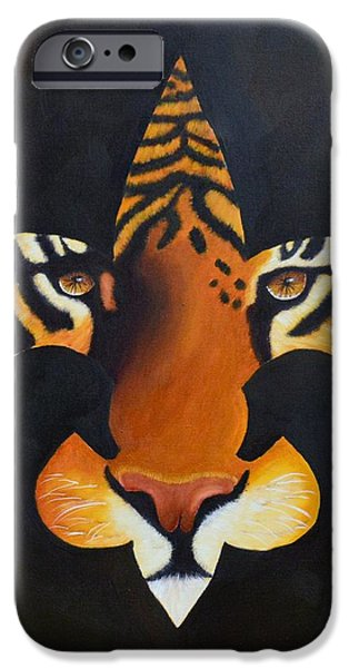 Nature Abstract iPhone Cases - St. Tiger iPhone Case by Nina Stephens
