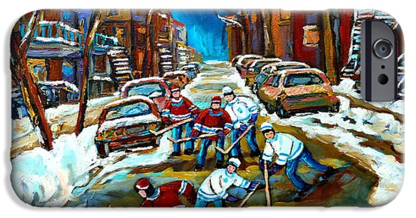 Streets Of Montreal iPhone Cases - St Urbain Street Boys Playing Hockey iPhone Case by Carole Spandau