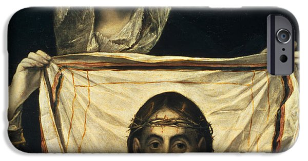Miracle iPhone Cases - St Veronica with the Holy Shroud iPhone Case by El Greco Domenico Theotocopuli