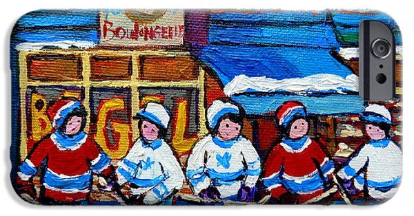 Hockey Paintings iPhone Cases - St Viateur Bagel Hockey Game Montreal City Scene iPhone Case by Carole Spandau