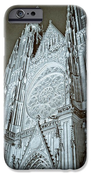 Charles River iPhone Cases - St Vitus Cathedral Rose Window at Night iPhone Case by Joan Carroll