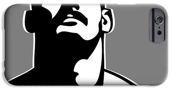 Male iPhone Cases - Stache B/W iPhone Case by Chris  Lopez