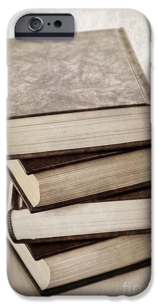 Imitation iPhone Cases - Stack of books iPhone Case by Elena Elisseeva