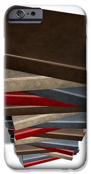 Sheets iPhone Cases - Stack Of Generic Leather Books iPhone Case by Allan Swart