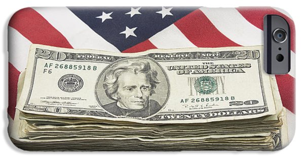 American Flag iPhone Cases - Stack of Money On American Flag  iPhone Case by Keith Webber Jr