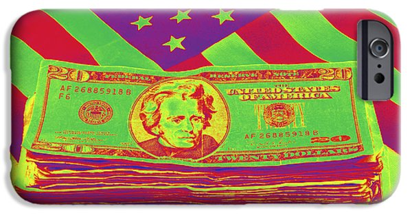 Currency iPhone Cases - Stack of Money On American Flag Pop Art iPhone Case by Keith Webber Jr