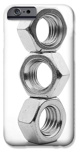 Work Tool iPhone Cases - Stack Of Steel Nuts iPhone Case by Donald  Erickson