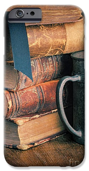 Tankard iPhone Cases - Stack of Vintage Books iPhone Case by Jill Battaglia