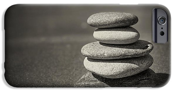 Calm iPhone Cases - Stacked pebbles on beach iPhone Case by Elena Elisseeva