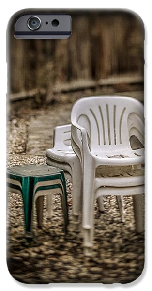 Home iPhone Cases - Stacked Plastic Chairs iPhone Case by YoPedro