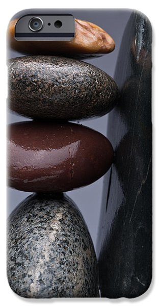 Pebble iPhone Cases - Stacked Stones 5 iPhone Case by Steve Gadomski