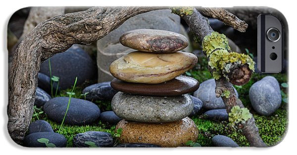 Mystic Setting Photographs iPhone Cases - Stacked Stones A1 iPhone Case by Marco Oliveira