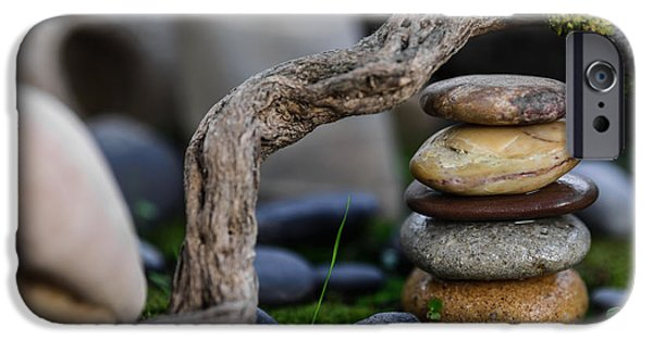 Mystic Setting Photographs iPhone Cases - Stacked Stones A2 iPhone Case by Marco Oliveira