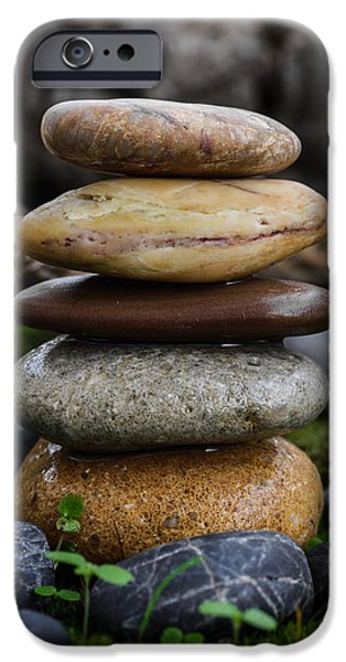 Mystic Setting Photographs iPhone Cases - Stacked Stones A4 iPhone Case by Marco Oliveira