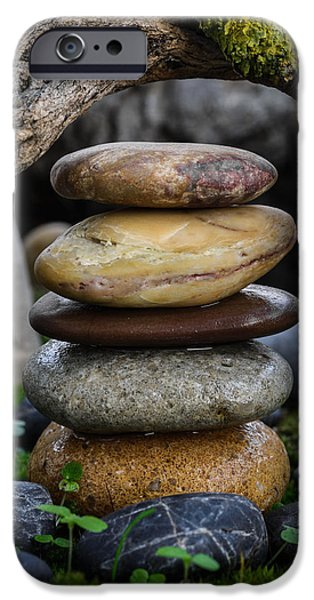 Mystic Setting Photographs iPhone Cases - Stacked Stones A5 iPhone Case by Marco Oliveira