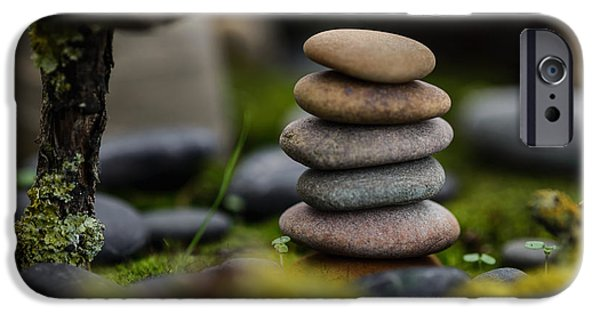 Mystic Setting Photographs iPhone Cases - Stacked Stones B1 iPhone Case by Marco Oliveira