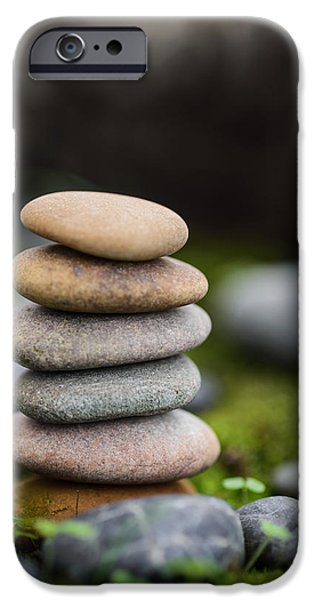 Mystic Setting Photographs iPhone Cases - Stacked Stones B2 iPhone Case by Marco Oliveira