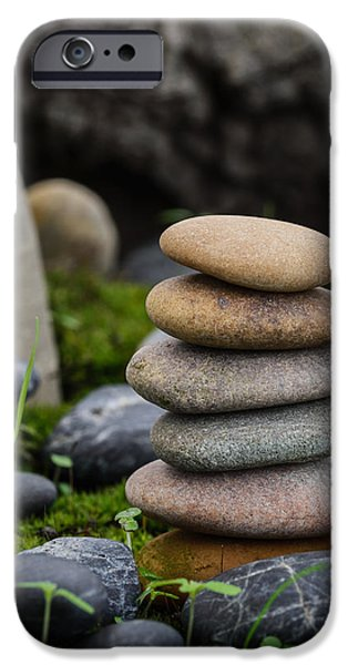 Mystic Setting Photographs iPhone Cases - Stacked Stones B3 iPhone Case by Marco Oliveira