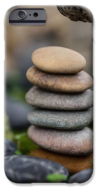 Mystic Setting Photographs iPhone Cases - Stacked Stones B6 iPhone Case by Marco Oliveira