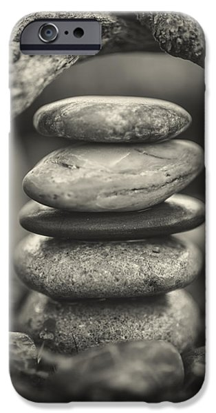 Mystic Setting Photographs iPhone Cases - Stacked Stones BW I iPhone Case by Marco Oliveira