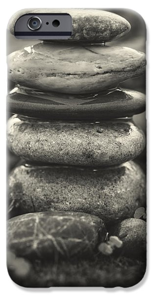 Mystic Setting Photographs iPhone Cases - Stacked Stones BW II iPhone Case by Marco Oliveira
