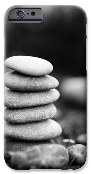 Mystic Setting Photographs iPhone Cases - Stacked Stones BW IV iPhone Case by Marco Oliveira