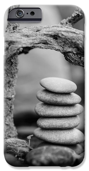 Mystic Setting Photographs iPhone Cases - Stacked Stones BW V iPhone Case by Marco Oliveira