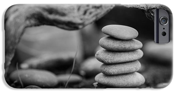 Mystic Setting Photographs iPhone Cases - Stacked Stones BW VI iPhone Case by Marco Oliveira
