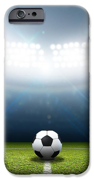 Night Lamp iPhone Cases - Stadium And Soccer Ball iPhone Case by Allan Swart