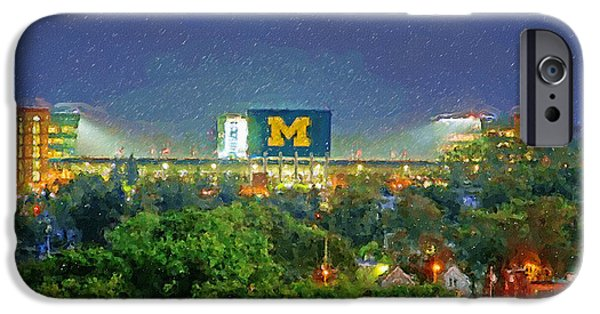 Universities Paintings iPhone Cases - Stadium at Night iPhone Case by John Farr