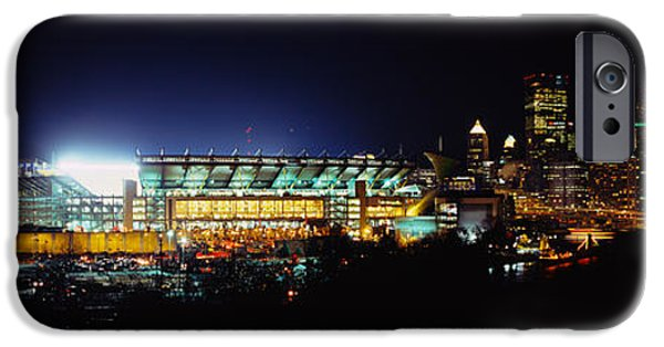 Heinz iPhone Cases - Stadium Lit Up At Night In A City iPhone Case by Panoramic Images
