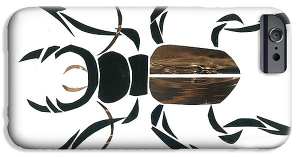 Invertebrates Mixed Media iPhone Cases - Stag Beetle Going Tribal iPhone Case by Earl ContehMorgan