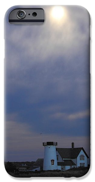 Chatham iPhone Cases - Stage Harbor Lighthouse and Hazy Full Moon Cape Cod iPhone Case by John Burk