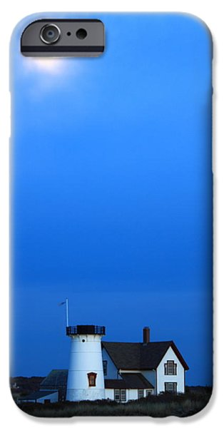 Chatham iPhone Cases - Stage Harbor Lighthouse and Hazy Moon Twilight iPhone Case by John Burk