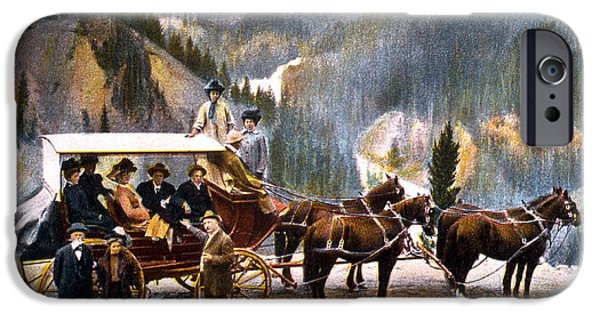 Horse And Buggy iPhone Cases - Stagecoach Near Upper Falls iPhone Case by NPS Photo Frank J Haynes