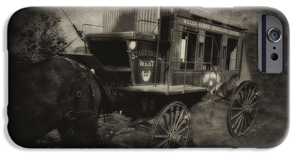 Horse And Cart Mixed Media iPhone Cases - StageCoach West Antique Textured iPhone Case by Thomas Woolworth