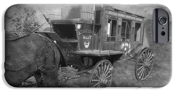 Horse And Cart Mixed Media iPhone Cases - StageCoach West BW Textured iPhone Case by Thomas Woolworth
