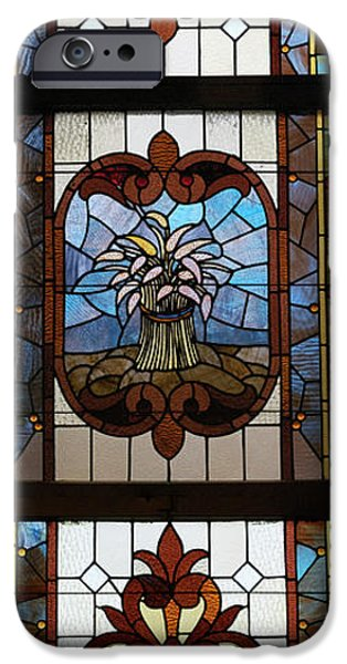 Stained Glass 3 Panel Vertical Composite 04 iPhone Case by Thomas Woolworth